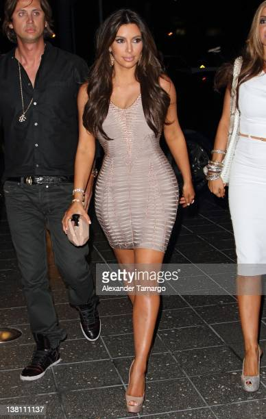 Kim Kardashian arrives at Zuma Japanese Restaurant at the EPIC Hotel on February 2 2012 in Miami Florida