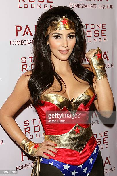 Kim Kardashian arrives to her Halloween party hosted by PAMA at Stone Rose on October 30, 2008 in Los Angeles, California.