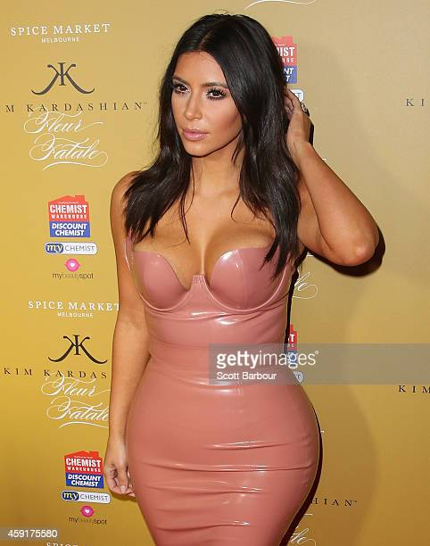 Kim Kardashian arrives to promote her new fragrance Fleur Fatale at a Spice Market event on November 18 2014 in Melbourne Australia