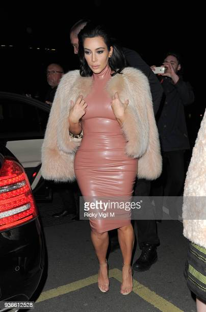 Kim Kardashian attends a party at Annabel's club in Mayfair on February 26 2015 in London England