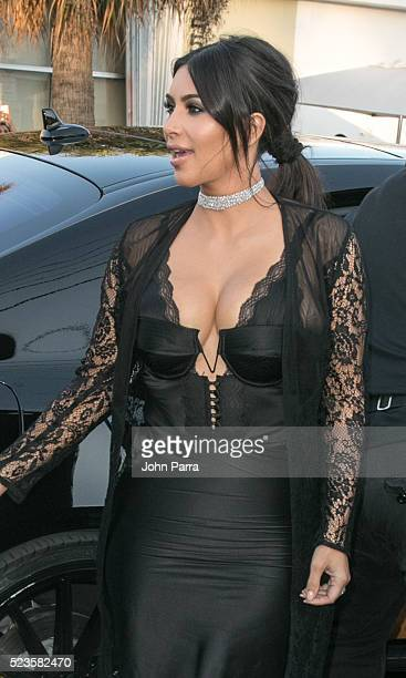 Kim Kardashian attends David Grutman's and model Isabela Rangel wedding in Wynwood Wall on April 23 2016 in Miami Florida