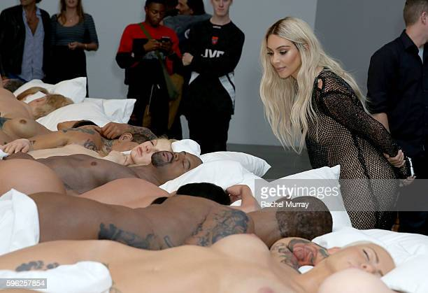 Kim Kardashian attends Famous by Kanye West a private exhibition event at Blum And Poe Los Angelesat Blum Poe on August 26 2016 in Los Angeles...