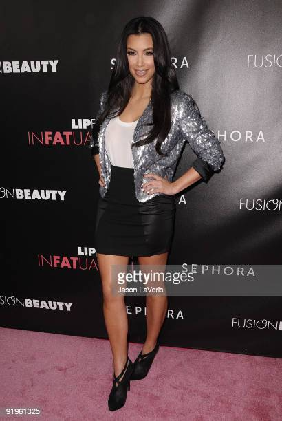 Kim Kardashian attends FusionBeauty's new InFatuation lip gloss launch at Sephora on October 15 2009 in Hollywood California
