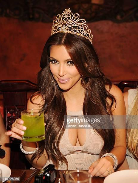 Kim Kardashian attends her bachelorette dinner at TAO Bistro at the Venetian on July 23 2011 in Las Vegas Nevada