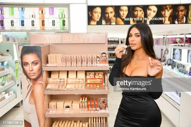 Kim Kardashian attends KKW Beauty launch at ULTA Beauty on October 24, 2019 in New York City.