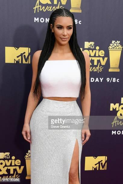 Kim Kardashian attends the 2018 MTV Movie And TV Awards at Barker Hangar on June 16, 2018 in Santa Monica, California.