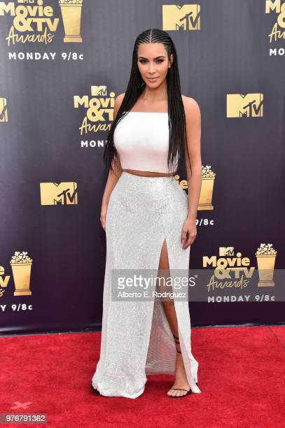Kim Kardashian attends the 2018 MTV Movie And TV Awards at Barker Hangar on June 16 2018 in Santa Monica California