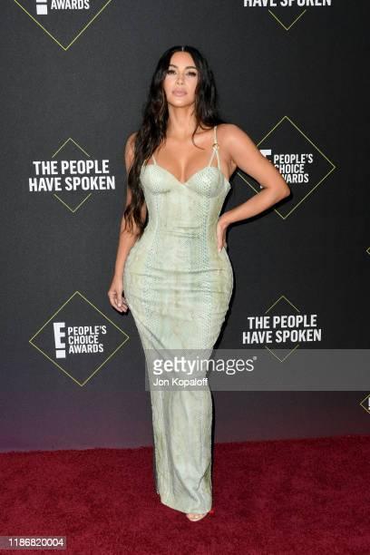Kim Kardashian attends the 2019 E People's Choice Awards at Barker Hangar on November 10 2019 in Santa Monica California