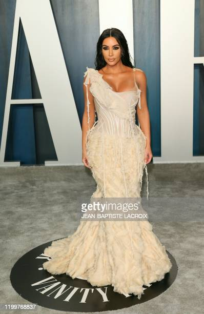 Kim Kardashian attends the 2020 Vanity Fair Oscar Party following the 92nd annual Oscars at The Wallis Annenberg Center for the Performing Arts in...