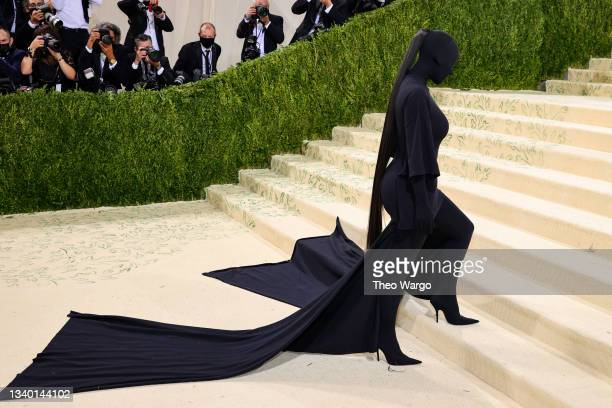 Kim Kardashian attends The 2021 Met Gala Celebrating In America: A Lexicon Of Fashion at Metropolitan Museum of Art on September 13, 2021 in New York...