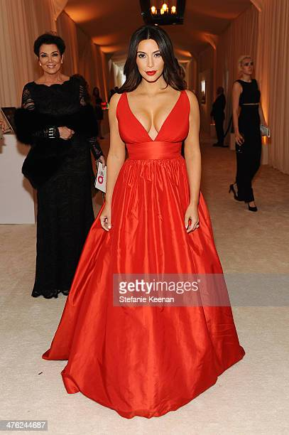 Kim Kardashian attends the 22nd Annual Elton John AIDS Foundation Academy Awards viewing party with Chopard at the City of West Hollywood Park on...