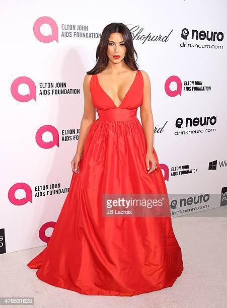 Kim Kardashian attends the 22nd Annual Elton John AIDS Foundation's Oscar Viewing Party on March 2 2014 in West Hollywood California