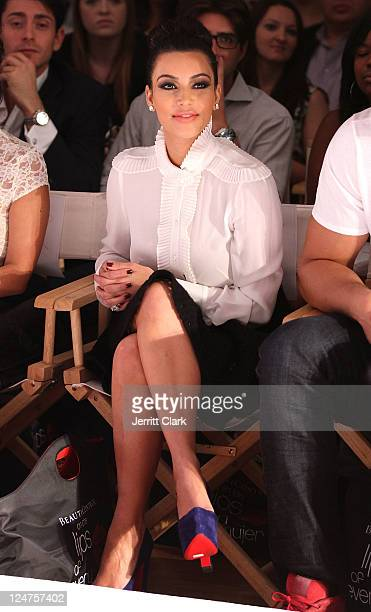 Kim Kardashian attends the Abbey Dawn by Avril Lavigne Spring 2012 fashion show during Style360 at the Metropolitan Pavilion on September 12, 2011 in...