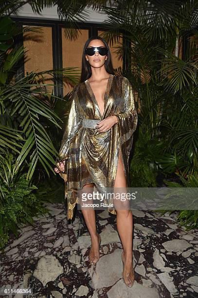 Kim Kardashian attends the Balmain aftershow party as part of the Paris Fashion Week Womenswear Spring/Summer 2017 on September 29 2016 in Paris...