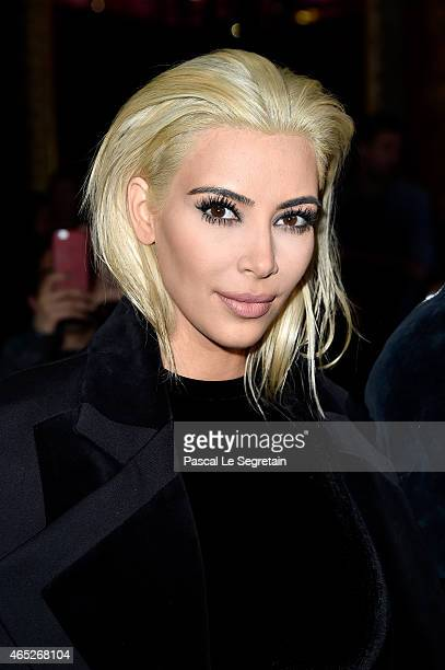 Kim Kardashian attends the Balmain show as part of the Paris Fashion Week Womenswear Fall/Winter 2015/2016 on March 5 2015 in Paris France