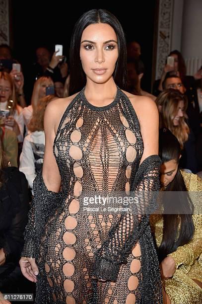Kim Kardashian attends the Balmain show as part of the Paris Fashion Week Womenswear Spring/Summer 2017 on September 29 2016 in Paris France