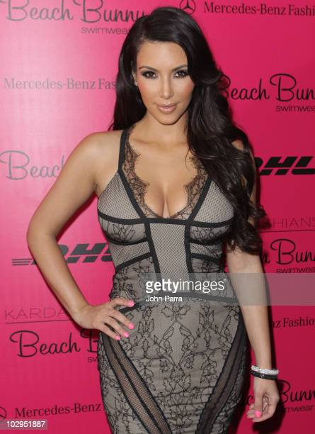 Kim Kardashian attends the Beach Bunny Swimwear show during Mercedes-Benz Fashion Week Swim 2011 at Raleigh Hotel on July 16, 2010 in Miami Beach,...
