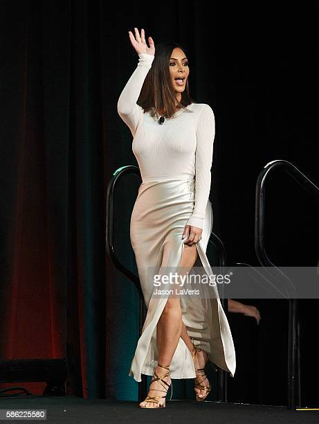 Kim Kardashian attends the #BlogHer16 Experts Among Us conference at JW Marriott Los Angeles at L.A. LIVE on August 5, 2016 in Los Angeles,...