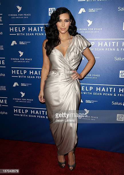 Kim Kardashian attends the Cinema for Peace fundraiser for Haiti at Montage Beverly Hills on January 14 2012 in Beverly Hills California