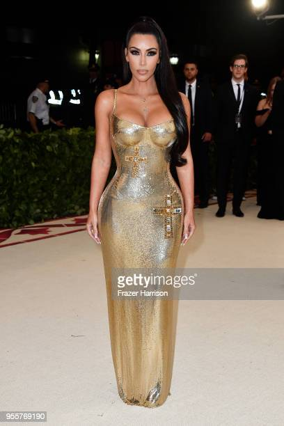 Kim Kardashian attends the Heavenly Bodies Fashion The Catholic Imagination Costume Institute Gala at The Metropolitan Museum of Art on May 7 2018 in...