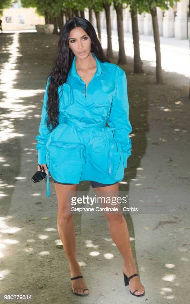 Kim Kardashian attends the Louis Vuitton Menswear Spring/Summer 2019 show as part of Paris Fashion Week Week on June 21 2018 in Paris France
