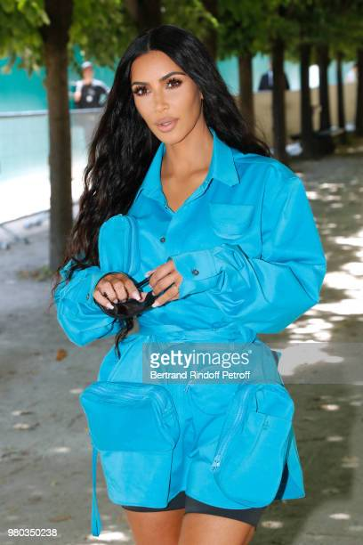 Kim Kardashian attends the Louis Vuitton Menswear Spring/Summer 2019 show as part of Paris Fashion Week on June 21 2018 in Paris France