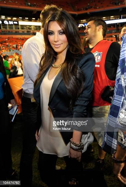 Kim Kardashian attends the Miami Dolphins vs New York Jets hispanic heritage home season opener at Sun Life Stadium on September 26 2010 in Miami...