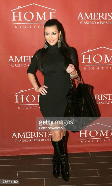 Kim Kardashian attends the opening of Home St Louis at the Ameristar Casino Resort Spa on December 28 2007 in St Charles Missouri