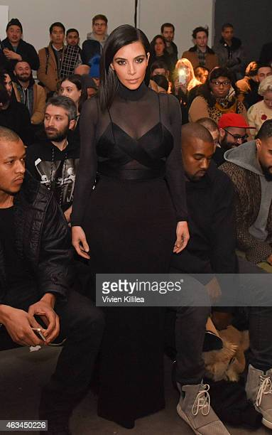 Kim Kardashian attends the Robert Geller show during MercedesBenz Fashion Week Fall 2015 at Pier 59 on February 14 2015 in New York City