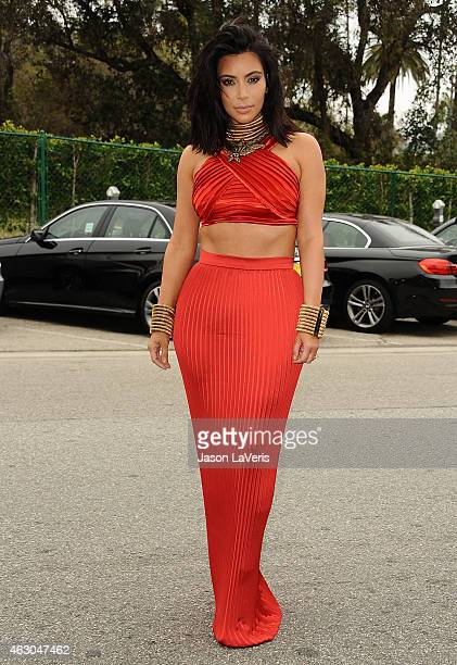 Kim Kardashian attends the Roc Nation Grammy brunch on February 7 2015 in Beverly Hills California