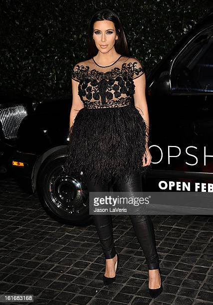 Kim Kardashian attends the Topshop Topman LA flagship store opening party at Cecconi's Restaurant on February 13 2013 in Los Angeles California