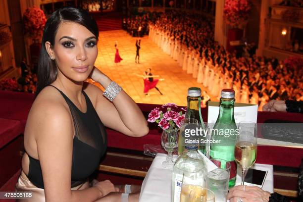 Kim Kardashian attends the traditional Vienna Opera Ball at Vienna State Opera on February 27 2014 in Vienna Austria