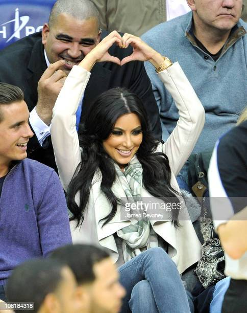 Kim Kardashian attends the Utah Jazz vs New Jersey Nets game at the Prudential Center on January 19 2011 in Newark New Jersey