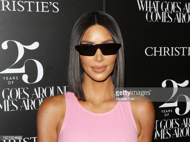 Kim Kardashian attends the What Goes Around Comes Around 25th Anniversary Auction Beverly Hills preview held on August 21 2018 in Beverly Hills...
