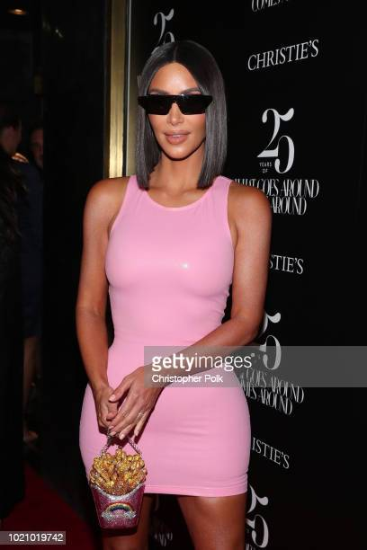 Kim Kardashian attends What Goes Around Comes Around 25th Anniversary Auction Beverly Hills Preview presented by Christie's at What Goes Around Comes...