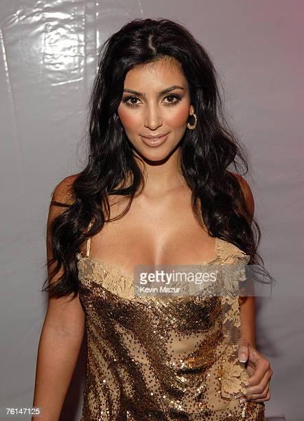 MIAMI BEACH FL JULY 14 Kim Kardashian backstage before The Jessica Simpson Swimwear Show at the Raleigh Hotel on July 14 2007 in Miami Beach Florida