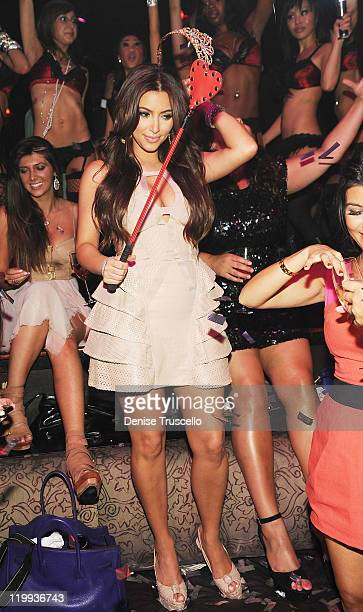 Kim Kardashian celebrates her bachelorette party at TAO Nightclub at the Venetian on July 23 2011 in Las Vegas Nevada