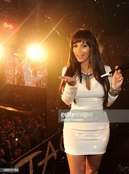 Kim Kardashian celebrates New Years Eve at Tao Las Vegas at the Venetian Hotel and Casino on December 31 2011 in Las Vegas Nevada