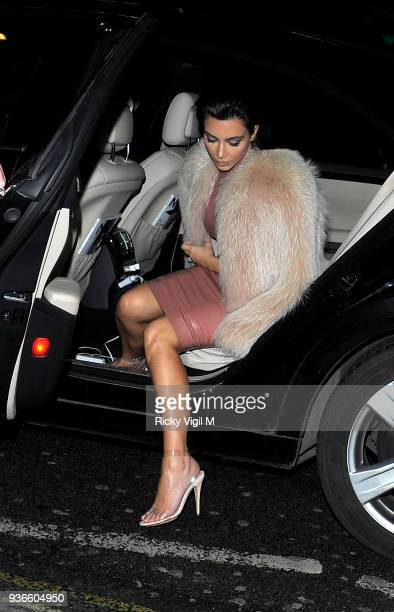 Kim Kardashian dines at Mr Chow restaurant on February 26 2015 in London England
