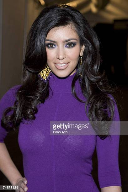 Kim Kardashian during MercedesBenz Fashion Week Fall 2007 Heatherette Arrivals and Departures at the The Tent/Bryant Park in New York New York