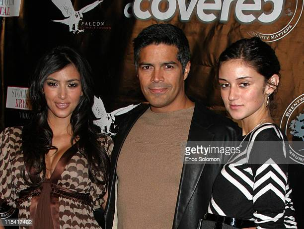 Kim Kardashian Esai Morales and Caroline D'Amore during Launch of Hollywood Covered Magazine and Niki Shadrow's Birthday at Falcon in West Hollywood...