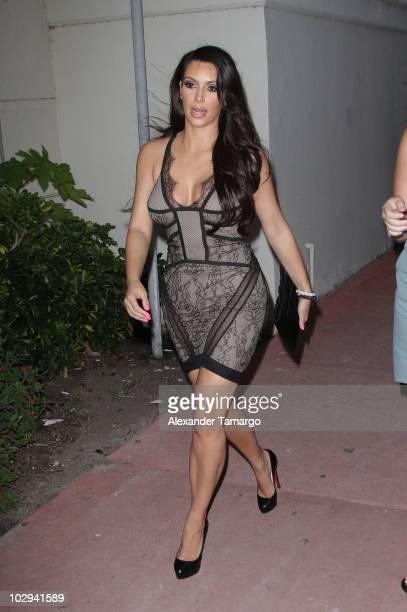 Kim Kardashian is seen around Mercedes-Benz Fashion Week Swim 2011 on July 16, 2010 in Miami Beach, Florida.