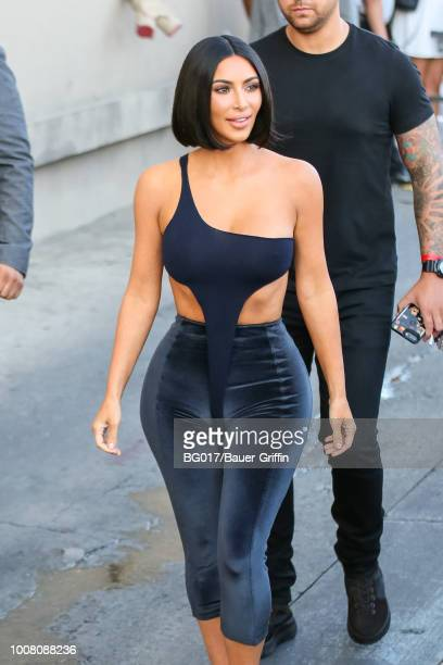 Kim Kardashian is seen arriving at 'Jimmy Kimmel Live' on July 30 2018 in Los Angeles California