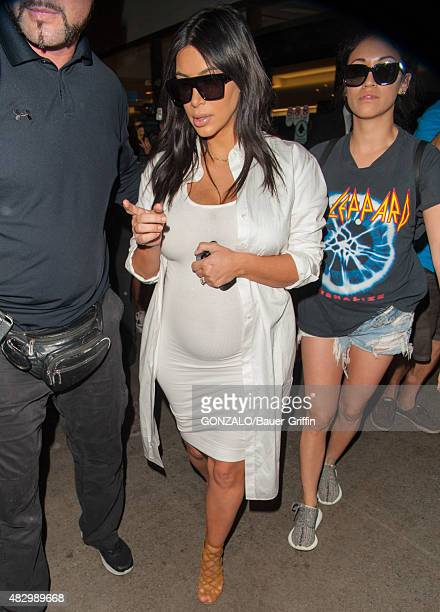 Kim Kardashian is seen at Los Angeles International Airport on August 04 2015 in Los Angeles California