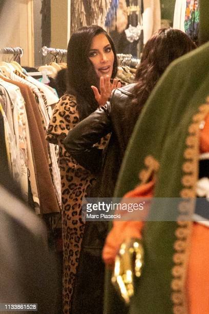Kim Kardashian is seen at 'Nice Piece' vintage clothes store on March 05 2019 in Paris France