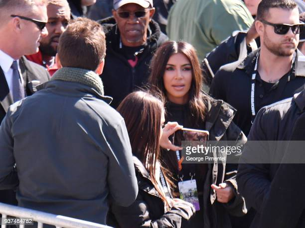 Kim Kardashian is seen in the crowd at March For Our Lives on March 24 2018 in Washington DC