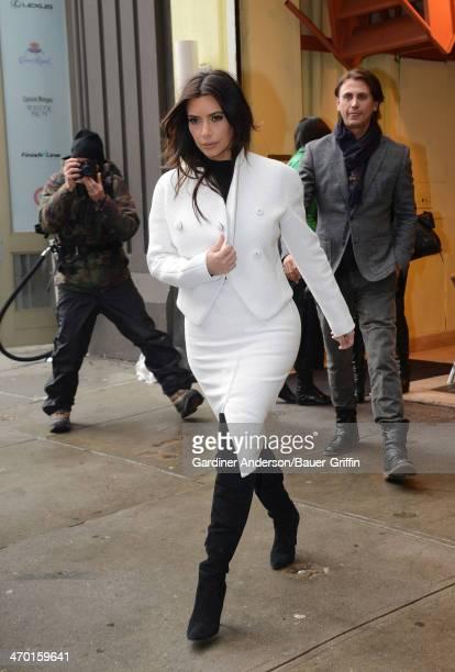 Kim Kardashian is seen leaving Cipriani restaurant in SoHo with Jonathan Cheban on February 18 2014 in New York City