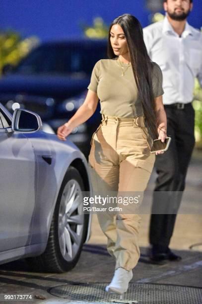 Kim Kardashian is seen leaving Nobu on July 06 2018 in Los Angeles California