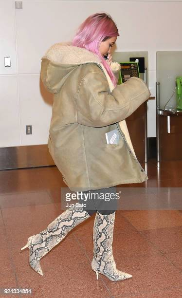 Kim Kardashian is seen upon arrival at Haneda Airport on February 26 2018 in Tokyo Japan