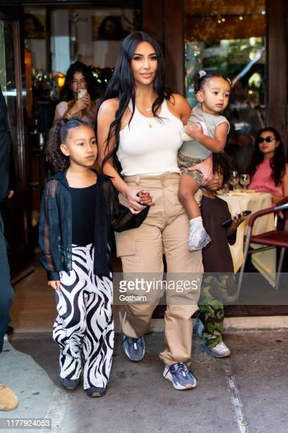 Kim Kardashian is seen with her children North Saint and Chicago in SoHo on September 29 2019 in New York City
